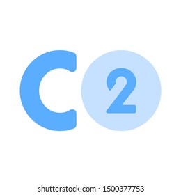 flat illustration of carbon dioxide vector icon. pollution sign symbol