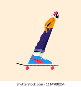 flat illustration of cartoon of a skateboarder on a yellow background