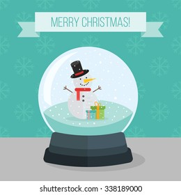 Flat illustration of christmas snow ball with little snowman and snowflakes.