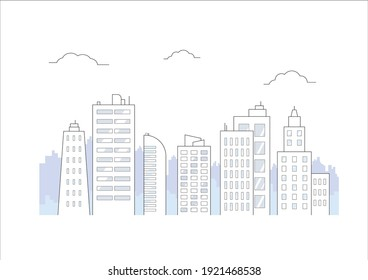 flat illustration of city building vector, urban skyscraper design concept