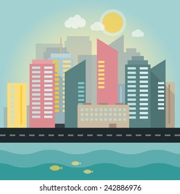 Flat illustration of a city in daylight with sea.