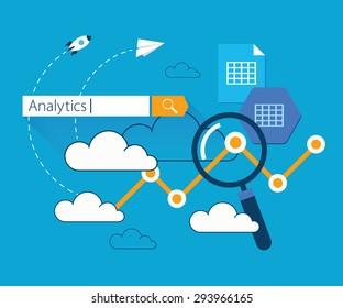 Flat illustration clouds data analytics