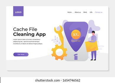 Flat illustration concept of cache cleaning applications, junk files, with a combination of people and objects around make a more attractive design, perfect for landing page, application opening.