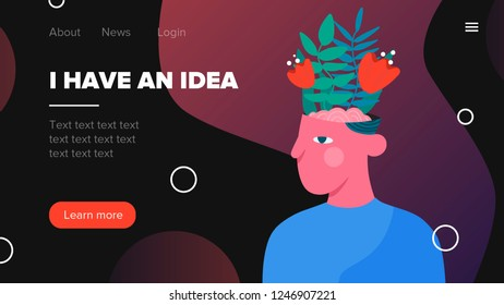 Flat illustration concept for web page, banner, presentation. Idea, plant, head.