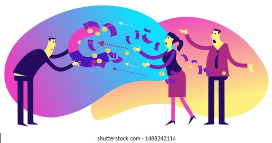 Flat illustration design for presentation, web, landing page, infographics: cartoon characters men businessmen and women, magnet attracts money. Financial fraud, the fraudster takes the money.