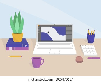 Flat illustration of a desktop in the office or a freelancer from home. Work interior design elements: table, laptop, notebook and books.
