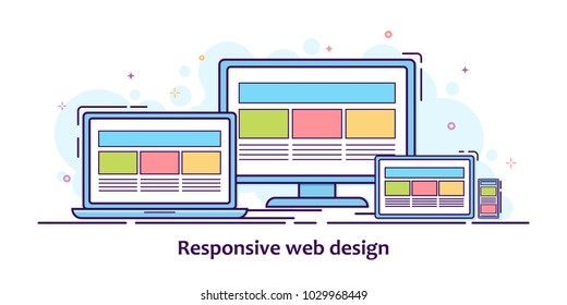 Flat illustration of devices with different view one web page. For demonstration responsive web design