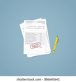 Flat illustration. Documents, business papers. Stamped bill.
