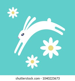flat illustration. EASTER WHITE RABIT on biue background with flowers