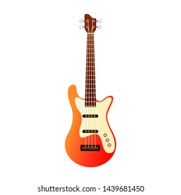 Flat illustration electric guitar. Acoustic guitar or ukulele. Isolated on white background. Vector illustration.