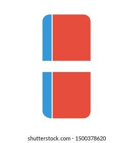 flat illustration of eraser vector icon. rubber sign symbol
