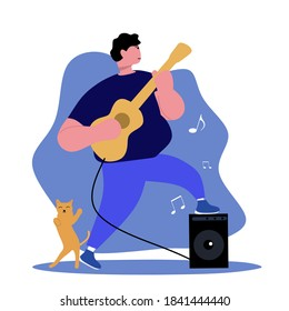 Flat illustration of fat man playing guitar with dancing cat isolated on white. Good for site, music poster, music advertisement, etc