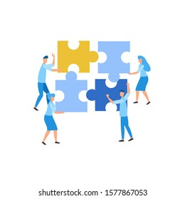 Flat illustration find idea brainstorming puzzle with mini people team work together