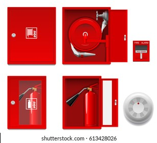 Flat illustration fire shield, fire cabinet, fire extinguisher, fire alarm.