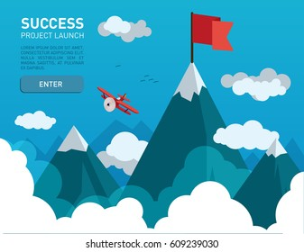 Flat illustration with a flag on the top of the mountain top symbol of success, goal, achievements in business life