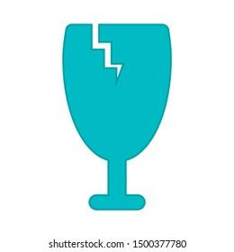 flat illustration of fragile vector icon. glass sign symbol