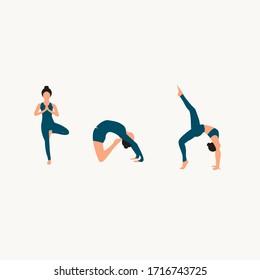 flat illustration: girl performing yoga assanas