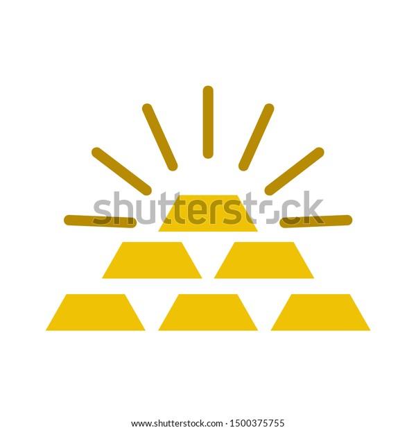 flat illustration of gold vector icon, golden bars sign symbol