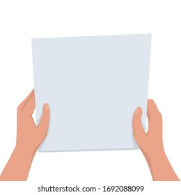 Flat illustration of hands holding a sheet of paper with place for text on a white background. Mockup notice. Read letter. Vector template for articles, brochures and your design.