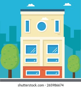 flat illustration of houses on the street