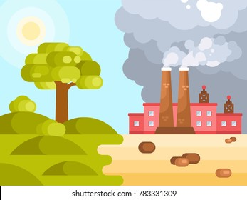 Flat illustration of human impact on climate change