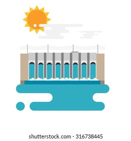 Flat illustration of a hydroelectric dam generating power and electricity with falling water, sun and clouds. Flat style vector with blank background.