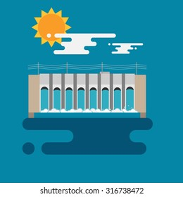 Flat illustration of a hydroelectric dam generating power and electricity with falling water, sun and clouds. Flat style vector with blue background.