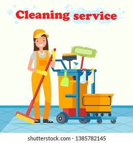 Flat Illustration Inscription Cleaning Service. Girl Housekeeping Worker Stands with Equipment and Smiles. Ordering Service Cleaning and Disinfecting Premises. Professional Equipment for Cleaning.