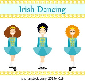 Flat illustration of irish dancers in traditional Irish dancing costumes with celtic ornament