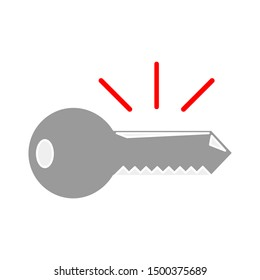 flat illustration of key vector icon, security sign symbol