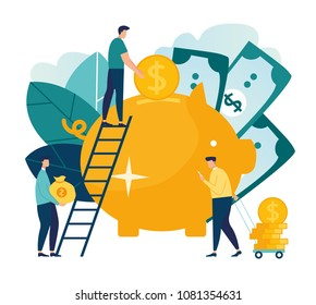 flat illustration, a large piggy bank in the form of a piglet on a white background, financial services, small bankers are engaged in work, saving or accumulating money, a coin box with falling vector