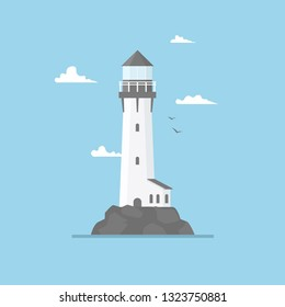 Flat illustration of lighthouse building and blue sky, path lighting. Searchlight tower with seagull for marine navigation of ships. Sea pharos or beacon. Marine and ocean theme seaside background.