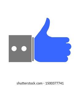 flat illustration of like vector icon, social sign symbol