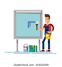 Flat illustration male artist draws with easel. Creative people professions collection. Male painter. Creative hobbies such as drawing and painting
