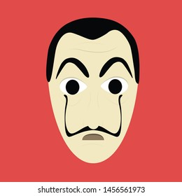 Flat Illustration of an man with a big moustache. Background in Red. La Casa de Papel (Money Heist) Vector