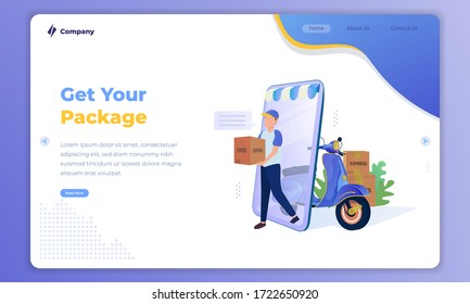 Flat illustration of man sending a package, Online shipping service on landing page concept