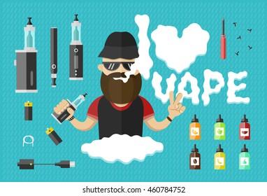 flat illustration of man with vape. Vaping, vaporize, vapor, vaporizer, vape, e-cigarette,e-cig vector isolated  icon set