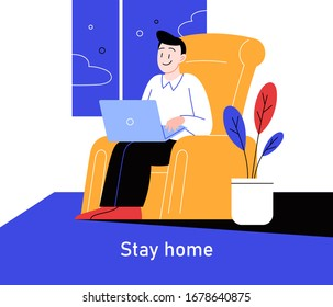 Flat illustration of a man working from home during the quarantine. Covid-19 prevention.