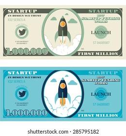 Flat Illustration of Million Dollar Money Bill, How Start Up Funding Works,