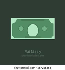 Flat illustration of money. Vector Dollar on dark background.