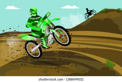 Flat illustration of motocross racing.