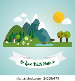 Flat illustration with natural landscape �¢?? hills, mountains, flowers, trees and lake.