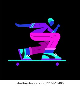 flat illustration with neon skater