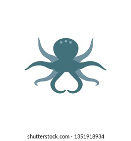 Flat illustration of an octopus for food market and restaurant.