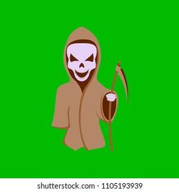 flat illustration on background of halloween death scythe