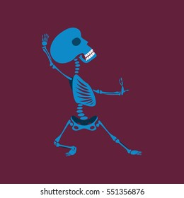 flat illustration on background of skeleton Halloween monster
