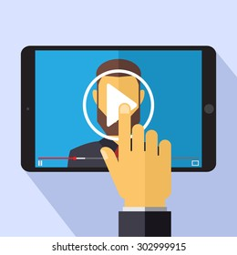 Flat illustration of online conference, webinar, tutorials and lectures. Vector EPS10 without transparences.