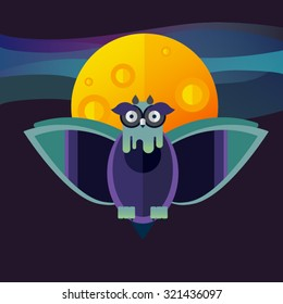 Flat illustration with owl, moon, sky. Background. Mystery night. Halloween character. Hipster bird. Forest dwellers. Symbol of owl.