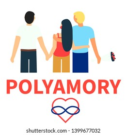 Flat illustration of partners polyamorous love. Open romantic and sexual relationships. Relationship loving people. Polyamory Colorful illustration on white background