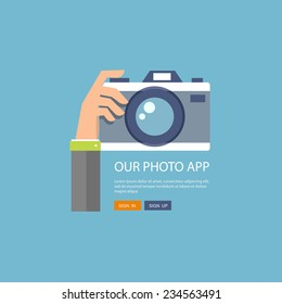 Flat illustration of photo camera with hand holding it. Eps10